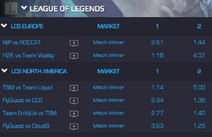 Match Winner and Map Winner are the most popular League of Legends bets.